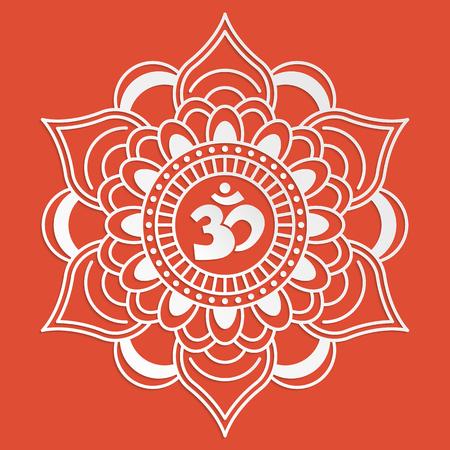 tatouage fleur: Symbole de l'OM avec d�corative Mehndi ornement indien pour votre conception Illustration