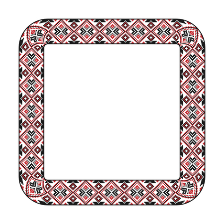 embroidered: Vector illustration of traditional embroidered square frame for your design Illustration