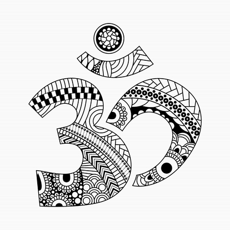 Zentangle style Om symbol with decorative indian ornament Mehndi for your design Illustration