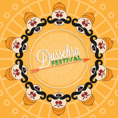 the ramayana: Dussehra festival lettering for your greeting card design