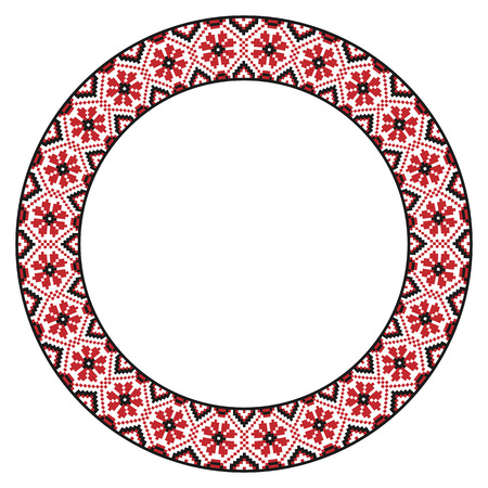 Vector illustration of traditional Slavic round embroidered pattern for your design