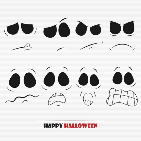 physiognomy: Halloween pumpkin faces set for your design