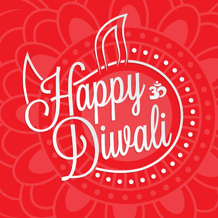 divali: Happy diwali lettering for your greeting card design
