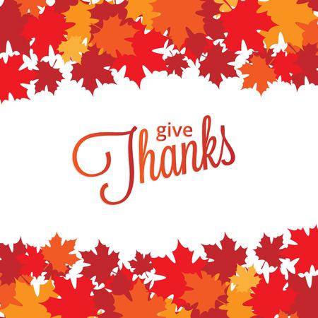 caes: Fondo feliz Día de Acción de Gracias con hojas de arce Vectores