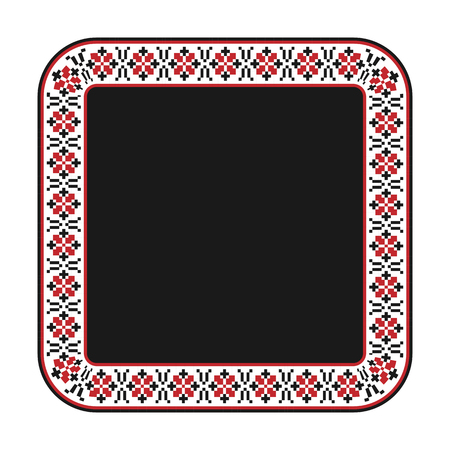 embroidered:  illustration of traditional embroidered square frame