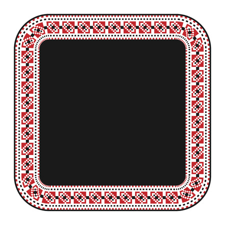 gestickt:  illustration of traditional embroidered square frame