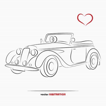 heart outline: Silhouette of wedding retro car for your design