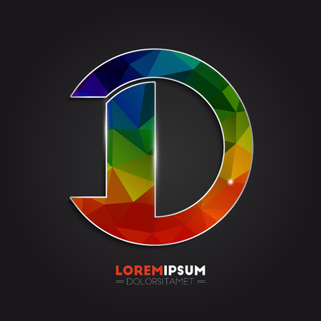 Letter D logo with colorful polygonal mosaic background for your design Ilustracja
