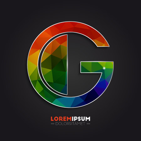 g alphabet: Letter G logo with colorful polygonal mosaic background for your design