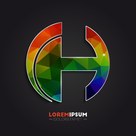 sign h: Letter H logo with colorful polygonal mosaic background for your design