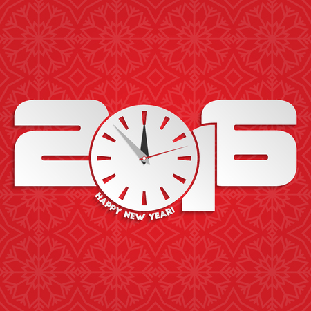 12 o'clock: Happy new year 2016 with seamless winter pattern for your design