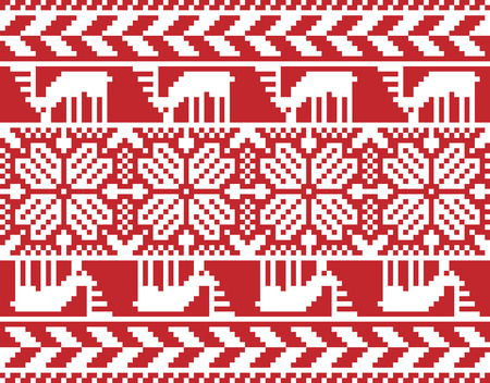 gestickt: Merry Christmas seamless embroidered pattern for your design