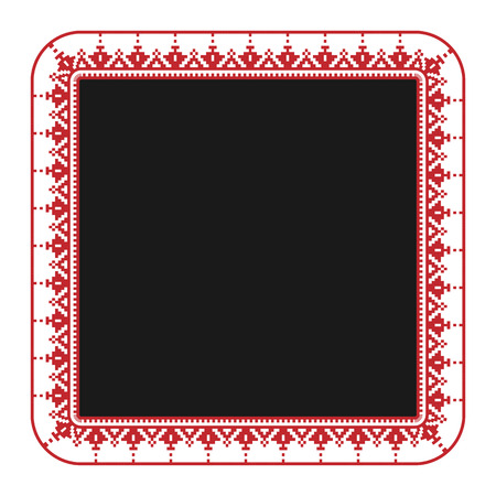 embroidered: illustration of traditional embroidered square frame for your design
