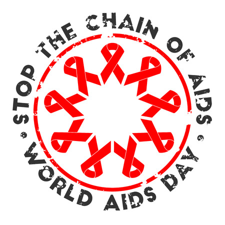 Stop the chain of aids. World AIDS Day ribbons for your design