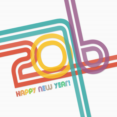 colorful: Happy new year 2016 greeting card design Illustration