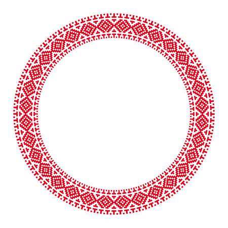 illustration of traditional Slavic round embroidered pattern for your design