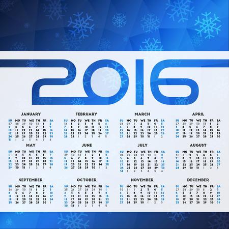 week: Calendar 2016 design. Week starts on Sunday