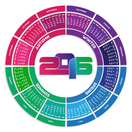 week: Colorful round calendar 2016. Week starts on Sunday