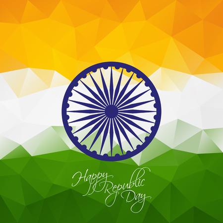 bandera de la india: fondo poligonal Día de la República India con la rueda ashoka para su diseño Vectores