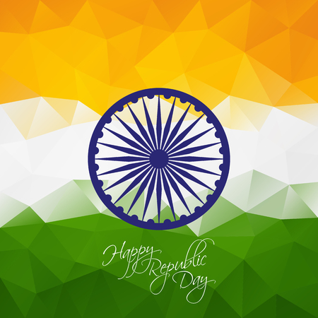india culture: Indian republic day polygonal background with ashoka wheel for your design