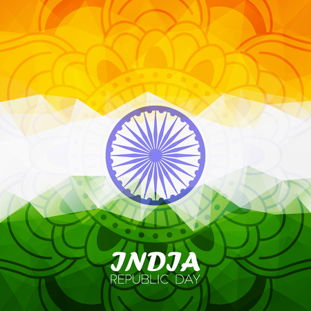 ashoka: Indian republic day polygonal background with ashoka wheel for your design