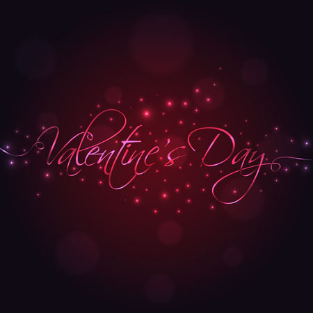 14: February 14. Happy Valentines Day hand lettering for your design