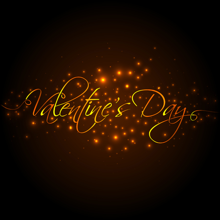 14: February 14. Happy Valentines Day golden hand lettering for your design Illustration