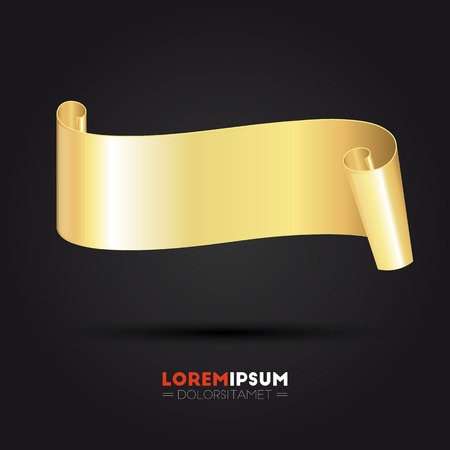 Abstract golden curved paper banner for your design