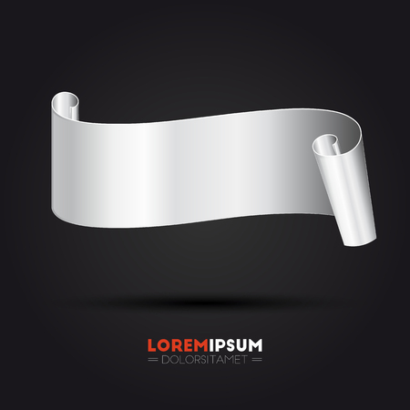 in curved: Abstract silver curved banner for your design Illustration