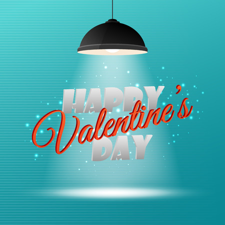 pendant lamp: Happy Valentines Day 3d inscription on light background for your invitation or greeting card design Illustration