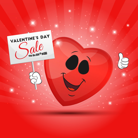 cartoon stars: Vector illustration of an abstract funny red heart with placard for your design