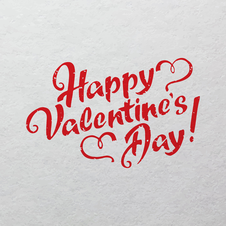watercolor paper: Happy Valentines Day hand drawn lettering on watercolor paper texture for your design