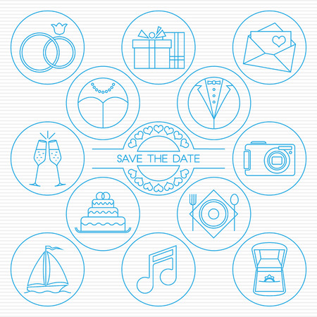 Wedding thin line icons. Set of round and outlined wedding icons for your design. Wedding rings, gifts, love letter, bride, groom, champagne, camera, cake, restaurant, honeymoon, dance and proposal