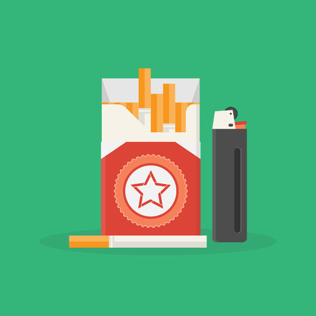 cigarette pack: Vector illustration of opened pack of cigarettes and lighter. Smoke problem. Nicotine addiction. Unhealthy lifestyle concept. Cigarette pack and lighter flat icon for your design Illustration