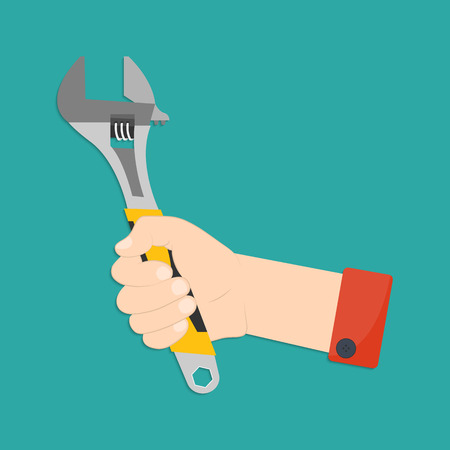 labor strong: Vector illustration of hand with monkey wrench. Mans hand with monkey wrench in flat style for your design Illustration