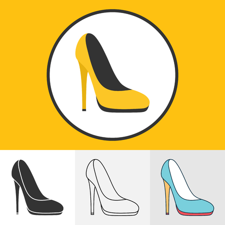 high heeled: Vector illustration of high heeled shoes icons set for your design Illustration