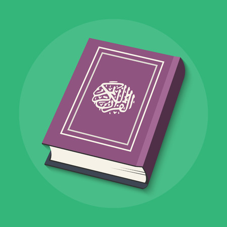Vector illustration of Islamic Book Quran with arabic calligraphy that means Al-Quran, the Holy Quran. Islamic Book Holy Quran in flat style. Holy Quran flat icon for your design Illustration
