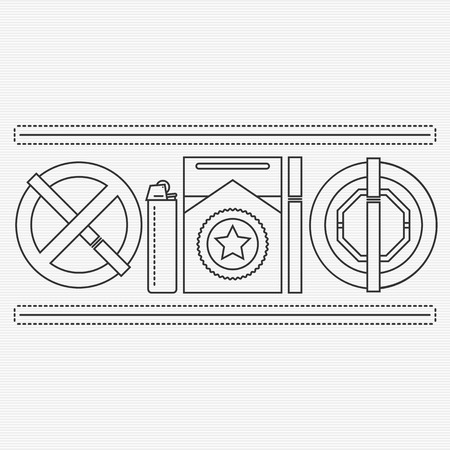 nicotine: No smoking and smoking area signs. Nicotine addiction. Unhealthy lifestyle concept. Cigarettes, lighter and ashtray line icons set for your design