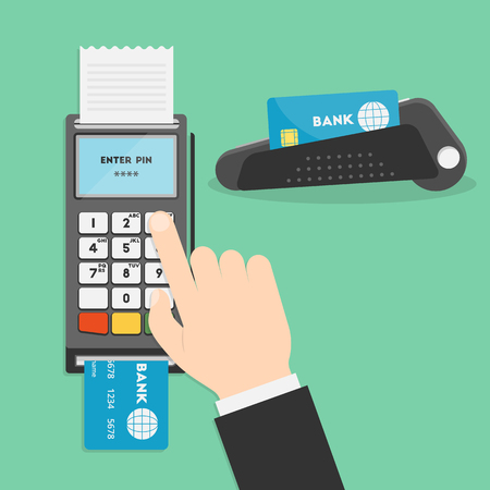 your point: Vector illustration of hand and payment terminal. Point of sale terminal. Credit card terminal. POS terminal or a PDQ terminal in flat style. Businessmans hand entering pin code for your design
