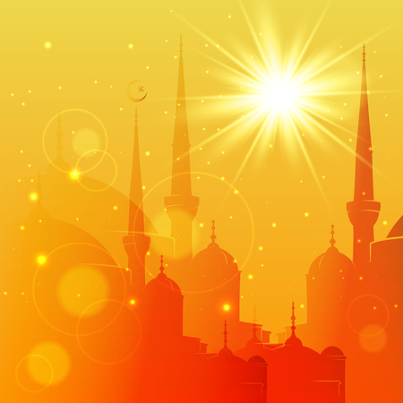 Vector Illustration of Mosque. Eid Mubarak greeting card design for holy month of muslim community Ramadan Kareem Çizim