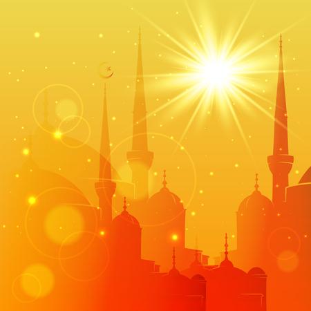 Vector Illustration of Mosque. Eid Mubarak greeting card design for holy month of muslim community Ramadan Kareem Illustration