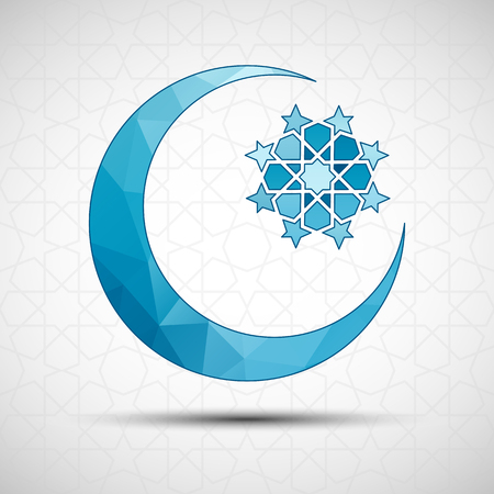 crescent: Vector Illustration of Eid Mubarak greeting card design with islamic decorative background. Crescent moon and star for holy month of muslim community Ramadan Kareem