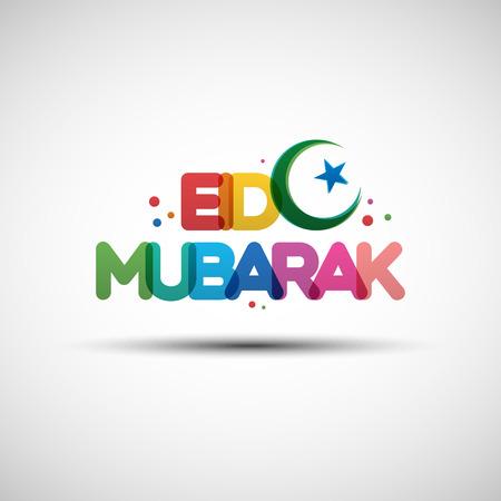 Ilustración del vector de Eid Mubarak. diseño de la tarjeta de felicitación con el creador de texto transparente multicolor para el mes sagrado del Ramadán Kareem comunidad musulmana Foto de archivo - 58178575
