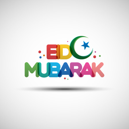 Vector Illustration of Eid Mubarak. Greeting card design with creative multicolored transparent text for holy month of muslim community Ramadan Kareem