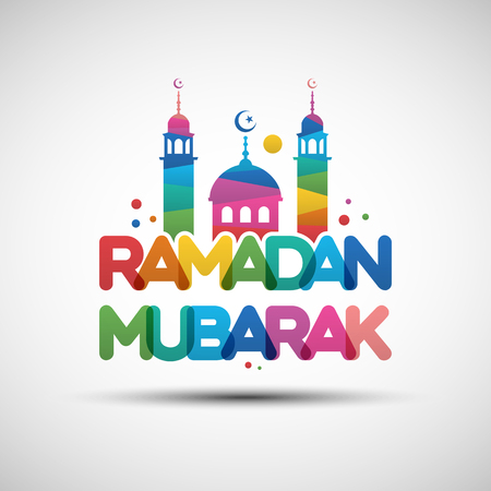 Vector Illustration of Ramadan Mubarak. Greeting card design with creative multicolored transparent text for holy month of muslim community Ramadan Kareem Illustration