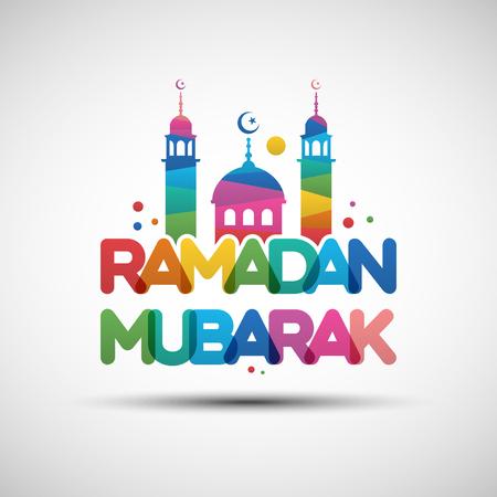 Vector Illustration of Ramadan Mubarak. Greeting card design with creative multicolored transparent text for holy month of muslim community Ramadan Kareem Ilustrace
