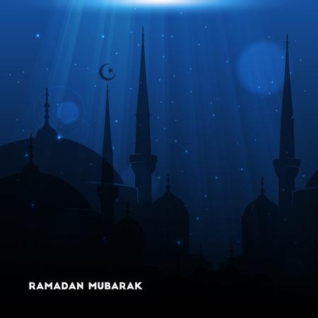 community event: Vector Illustration of Mosque. Ramadan Mubarak. Eid Mubarak greeting card design for holy month of muslim community Ramadan Kareem