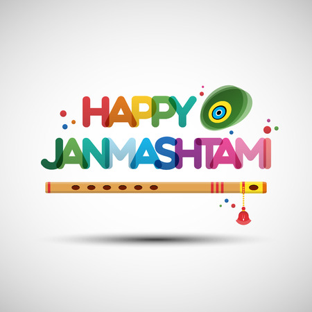 word of god: Vector Illustration of Krishna Janmashtami. Greeting card design with creative multicolored transparent text Happy Janmashtami
