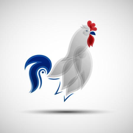 Gallo stilizzato. Illustrazione vettoriale di astratto Gallo gallico come simbolo della Nazionale di calcio della Francia per il vostro disegno Vettoriali