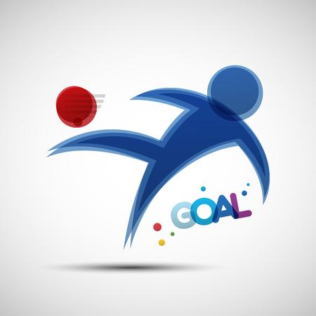 kicks: Football championship banner. Soccer player kicks the ball. Vector illustration of abstract footballer silhouette for your design